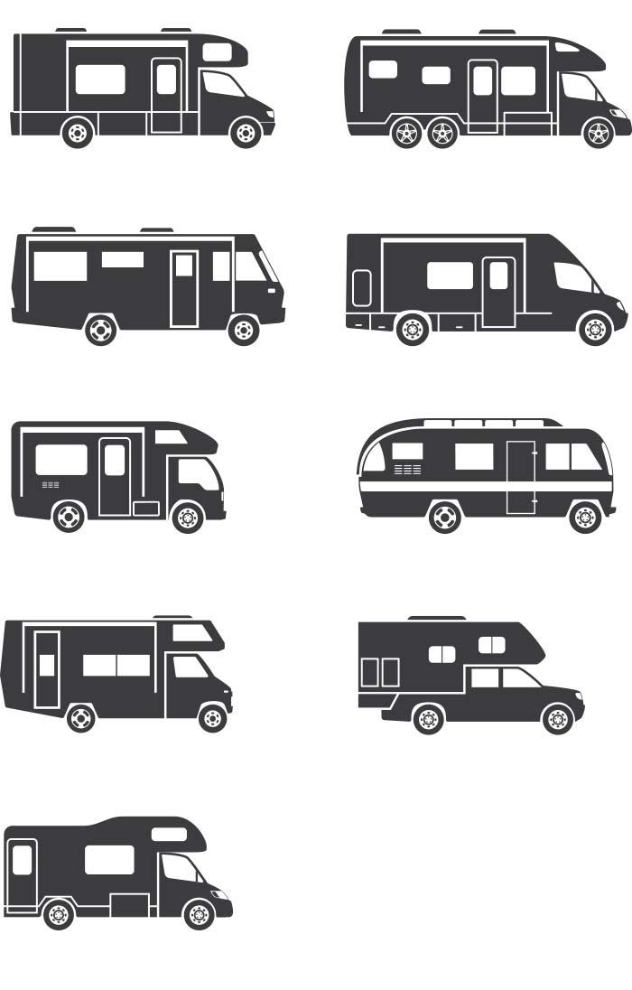 Wohnmobil Baurten Illustrationen